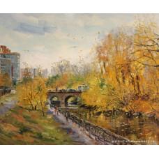 Царский мост. Золотая осень. Живопись: холст, масло. 50х60 см. 2019 г.