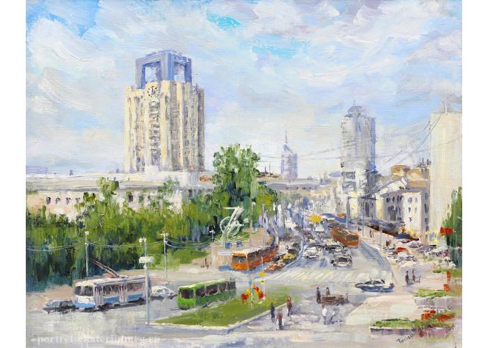 Городские будни. Улица Свердлова. Живопись: холст, масло. 40х50 см. 2020 г.