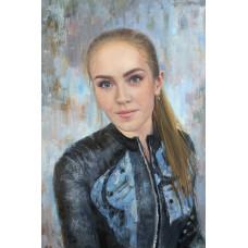 Подарок девушке. Портрет на голубом фоне. Живопись: холст, масло. 60х40 см. 2020 г.