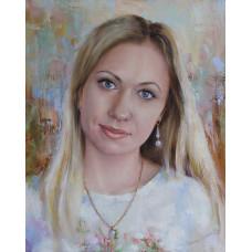 Портрет девушки с серёжкой. Живопись: холст, масло. 50х40 см. 2018 г.