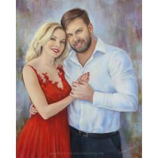 Портрет семейной пары. Живопись: холст, масло. 50х40 см. 2018 г.