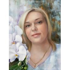 Портрет с цветами. Живопись: холст, масло. 40х30 см. 2021 г.