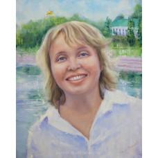 Портрет улыбающейся женщины в светлом. Живопись: холст, масло. 50х40см. 2017г.