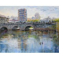 Старый мост и новый город. Живопись: холст, масло. 40х50 см. 2020 г.