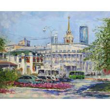 У площади 1905 года июльским утром. Живопись: холст, масло, 40х50 см. 2020 г.