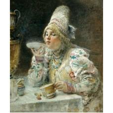 Константин Маковский. За чаем. Заказать копию tkat82@mail.ru