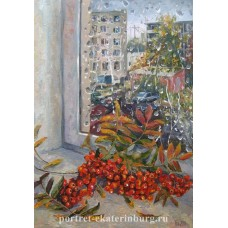Дождь в сентябре. Живопись: холст на картоне, масло. 50х35см. 2011г.