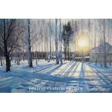 Озерный. Зимний закат. Живопись: холст, масло. 40х60см. 2008г.