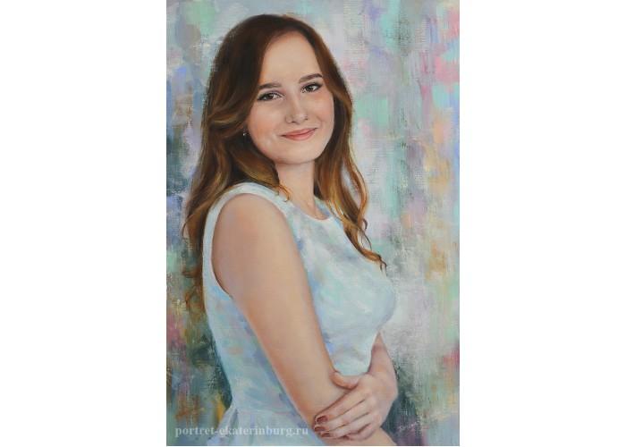 Портрет девушки. В светлом платье. Холст, масло. 60х40см. 2018г.