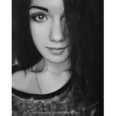 Черно-белый портрет девушки. Живопись: холст, масло. 50х40см. 2016г.