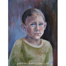Детский портрет. Алёшка. Живопись: холст на картоне, масло. 40х30см. 2013г.