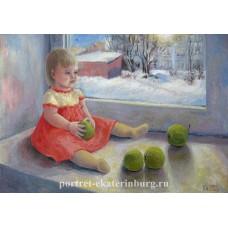 Детский портрет. Девочка с яблоками. Живопись: холст на картоне, масло. 35х50см. 2012г.