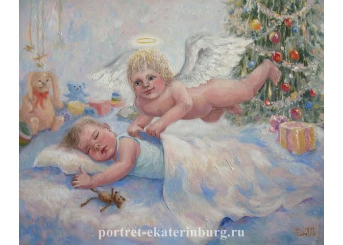 Детский портрет. Маленький хранитель. Живопись: холст на картоне, масло. 40х50см. 2011г.
