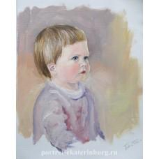 Детский портрет. Полина. Живопись: бумага, масло. 31х22см. 2012г.