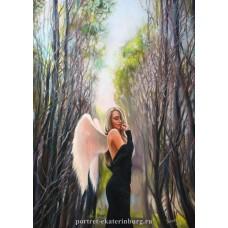 Девушка - ангел. Живопись: холст, масло. 70х50см. 2014г.