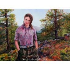 Девушка на фоне пейзажа. Живопись: холст, масло. 60х80см. 2013г