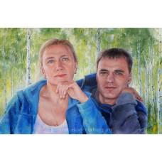 Портрет брата и сестры. Живопись: холст, масло. 40х60см. 2017г.