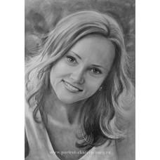 Портрет девушки карандашом. Подарок сестре. Графика: бумага, карандаш. 42х59,4см. 2017г.