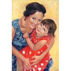 Портрет мамы с доченькой. Живопись: холст, масло. 60х40см. 2015г.