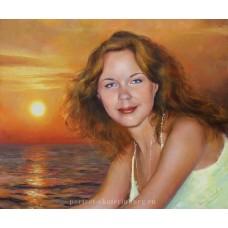 Портрет на фоне заката. Подарок любимой. Живопись: холст, масло. 50х60см. 2017г.