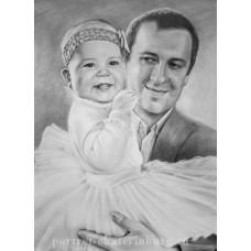 Портрет папы с доченькой. Графика: бумага, карандаш. 40х30см. 2015г.