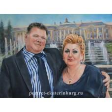 Портрет пары на фоне Петергофа. Живопись: холст, масло. 60х80см. 2013г.