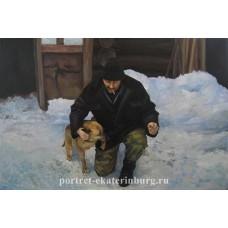 Портрет с собакой. Дружище. Живопись: холст, масло. 40х60см. 2008г.