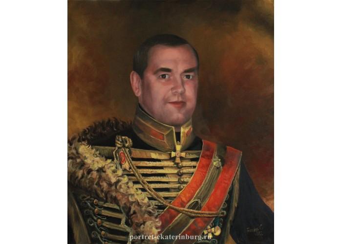 Портрет в старинной военной форме. Живопись: холст, масло. 70х60см. 2013г.