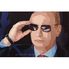 Путин B. В. в тёмных очках. Живопись: холст, масло. 40х60см. 2015г. Копия