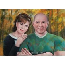 Семейная пара. На фоне осени. Живопись: холст, масло. 50х70см. 2014г.