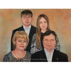 Семейный портрет. Подарок маме. Живопись: холст, масло. 60х80см. 2014г.
