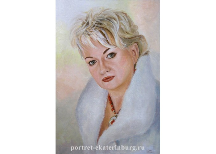 Заказной портрет. Девушка в шубе. Живопись: холст, масло. 60х40см. 2012г.