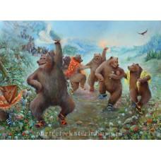 Там на неведомых дорожках медведи пляшут в босоножках. Живопись: холст, масло. 60х80см. 2014г.